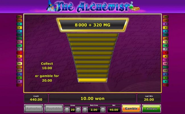 Casumo featuring the Video Slots The Alchemist with a maximum payout of $5,000