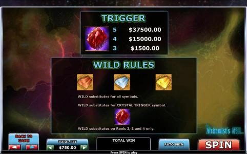 Crystal trigger paytable and wild rules.