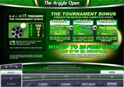 Jetbull featuring the Video Slots The Argyle Open with a maximum payout of $500