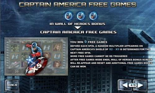 Captain America free games feature rules