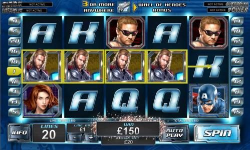four thor symbols triggers a 150 coin big win jackpot