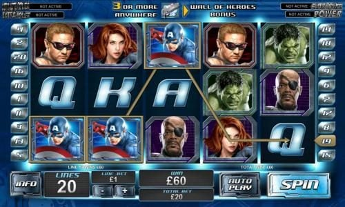 three Captain America symbols triggers a 60 coin jackpot
