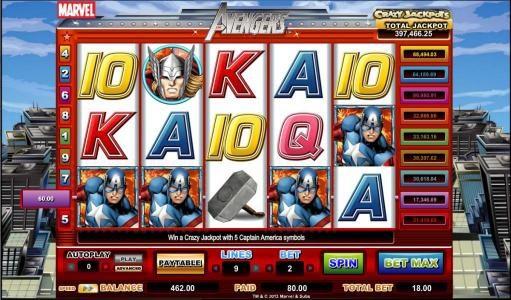 four captain avenger symbols triggers 80 coin jackpot