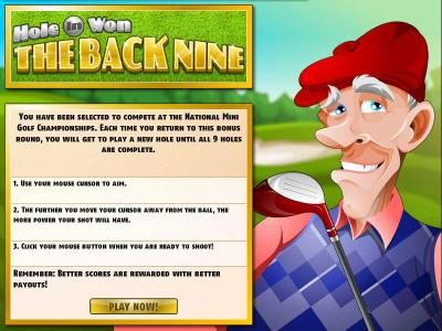 DaVincis Gold featuring the Video Slots The Back Nine with a maximum payout of $3,750