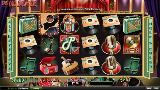 Play slots at Casino Extreme: Casino Extreme featuring the Video Slots The Big Bopper with a maximum payout of $225,000