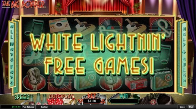 The White Lightnin Free Games are awarded.