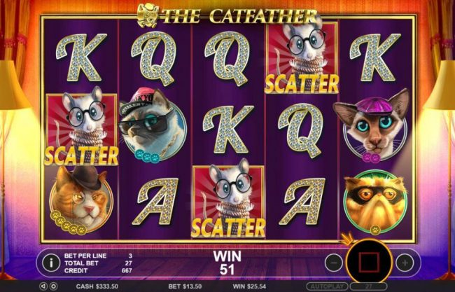 Free spins awarded when three or more mouse scatter symbols appear anywhere on the reels.