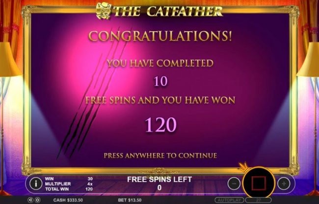 Free Spins feature pays out a total of 120 coins.