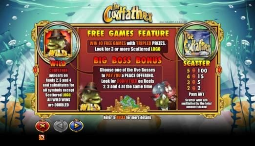 The Codfather :: wild, scatter and free games paytable