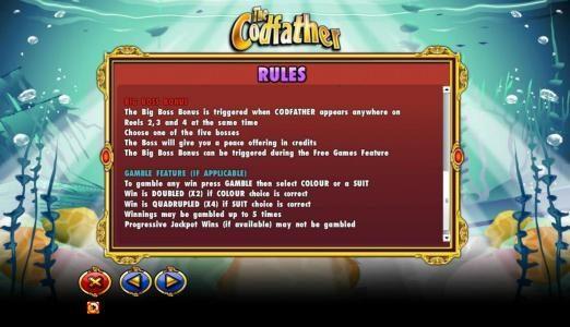 Northern Lights featuring the Video Slots The Codfather with a maximum payout of $20,000
