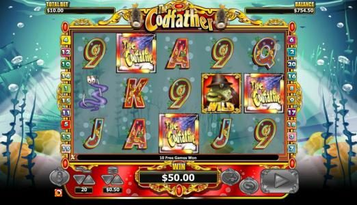 Videoslots featuring the Video Slots The Codfather with a maximum payout of $20,000