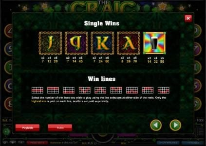 Ocean Bets featuring the Video Slots The Craic with a maximum payout of $2,500