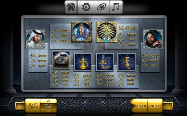 Betchain featuring the Video Slots The Emirate with a maximum payout of $500,000