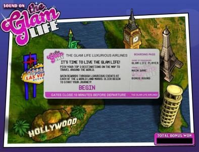 The Glam Life :: bonus round game board
