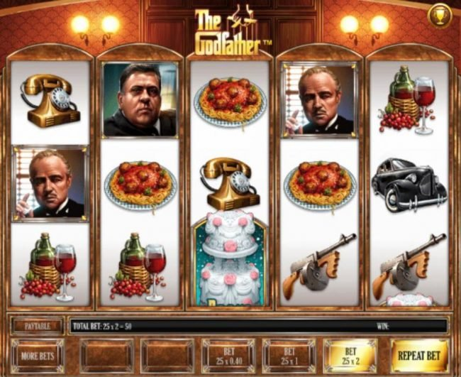 The Godfather :: Main game board featuring five reels and 25 paylines with a $2,000 max payout