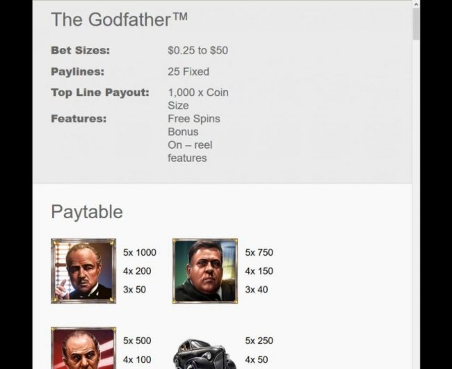 The Godfather :: Bet Size: 0.25 to 50.00, Paylines 25 Fixed, Top Line Payout: 1,000 x coin, Features: Free Spins Bonus On-Reel Features.