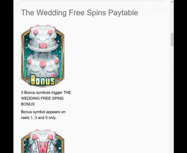 The Godfather :: The Wedding  Free Spins Paytable