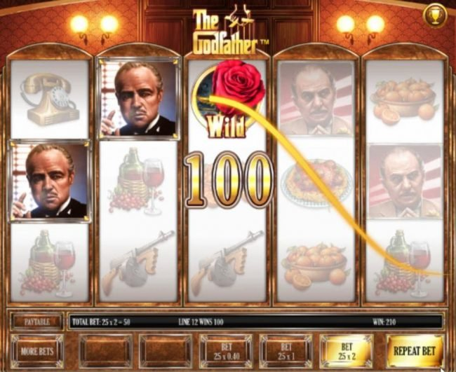 The Godfather :: Multiple winning paylines triggers a 200.00 big win!