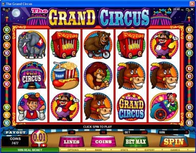 Play slots at Euro Bets: Euro Bets featuring the Video Slots The Grand Circus with a maximum payout of $20,000