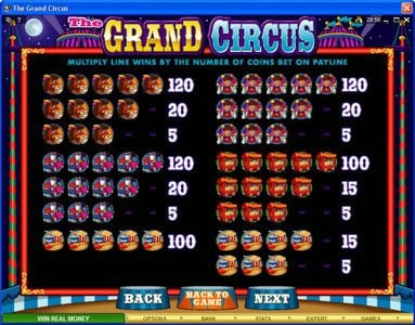 Colosseum featuring the Video Slots The Grand Circus with a maximum payout of $20,000