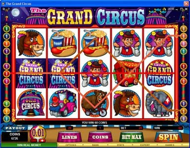 Casino Moons featuring the Video Slots The Grand Circus with a maximum payout of $20,000