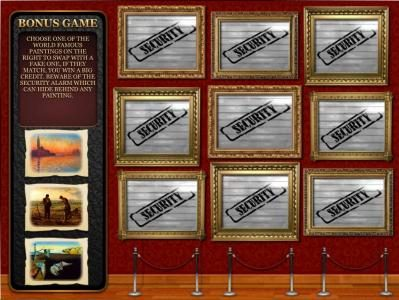 Oshi featuring the Video Slots The Great Art Robbery with a maximum payout of $1,250,000