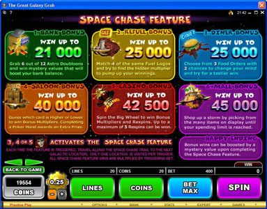 Casino Red Kings featuring the Video Slots The Great Galaxy Grab with a maximum payout of $22,500