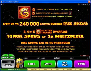 Play slots at X-Bet: X-Bet featuring the Video Slots The Great Galaxy Grab with a maximum payout of $22,500