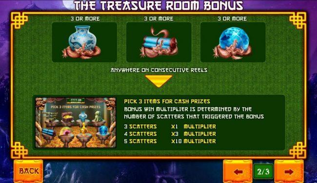 Three different bonus scatters trigger the Treasure Room Bonus.