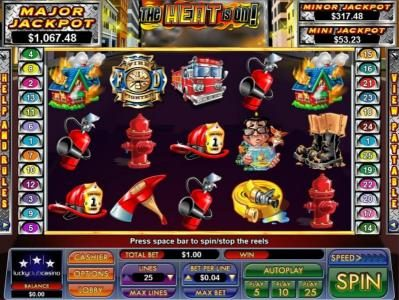 Slot Madness featuring the Video Slots The Heat is On! with a maximum payout of $5,000