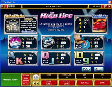 Vegas Hero featuring the Video Slots The High Life with a maximum payout of 1,500x