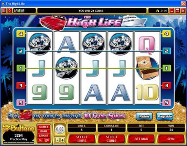 Jackpot Paradise featuring the Video Slots The High Life with a maximum payout of 1,500x