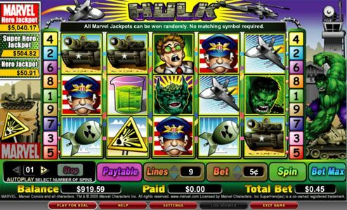Boaboa featuring the video-Slots The Hulk with a maximum payout of 2,000x