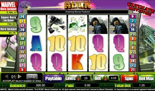 Omnia featuring the Video Slots The Hulk - Ultimate Revenge with a maximum payout of $25,000
