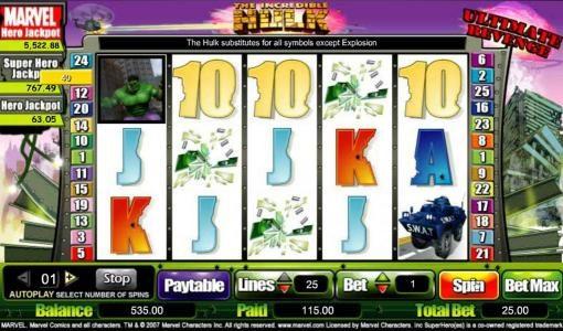 wild symbol triggers 115 coin jackpot