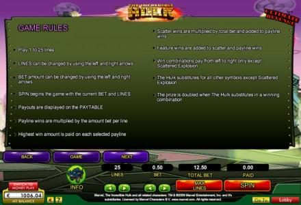 Gala featuring the Video Slots The Incredible Hulk with a maximum payout of $50,000