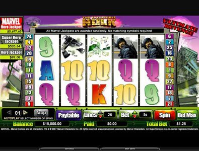 Play slots at Spinrider: Spinrider featuring the video-Slots The Incredible Hulk with a maximum payout of 5,000x