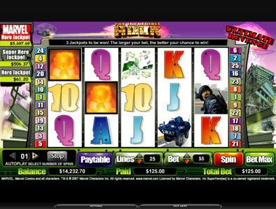 Africa Casino featuring the video-Slots The Incredible Hulk with a maximum payout of 5,000x