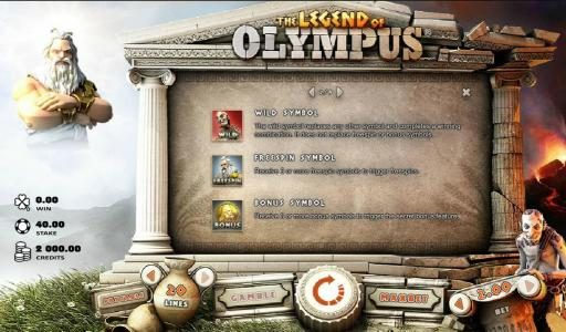 Aztec Ritces featuring the Video Slots The Legend of Olympus with a maximum payout of $40,000