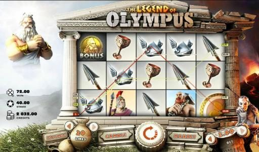 Casino Luck featuring the Video Slots The Legend of Olympus with a maximum payout of $40,000