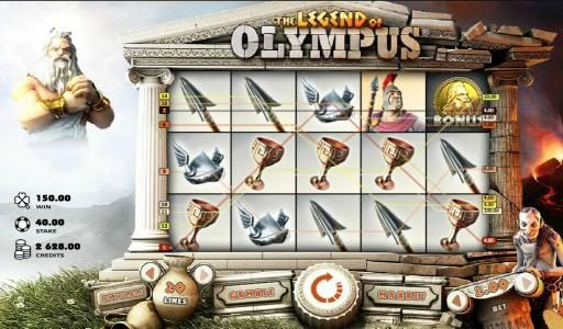 Casino Extra featuring the Video Slots The Legend of Olympus with a maximum payout of $40,000