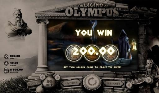 Joy Casino featuring the Video Slots The Legend of Olympus with a maximum payout of $40,000