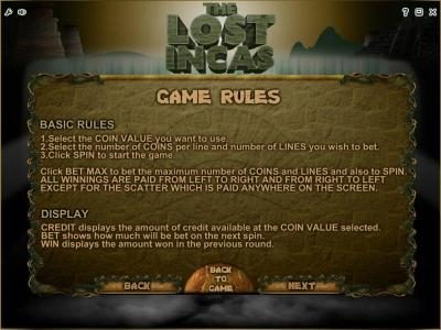 Money Reels featuring the Video Slots The Lost Incas with a maximum payout of Jackpot