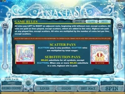 Clover Casino featuring the Video Slots The Lost Princess Anastasia with a maximum payout of $4,000