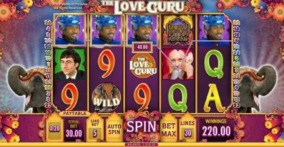 multiple winning paylines trigger a $220 jackpot