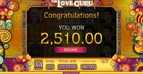 X-Bet featuring the Video Slots The Love Guru with a maximum payout of $1,000