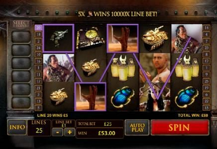 LesA Casino featuring the Video Slots The Mummy with a maximum payout of $10,000