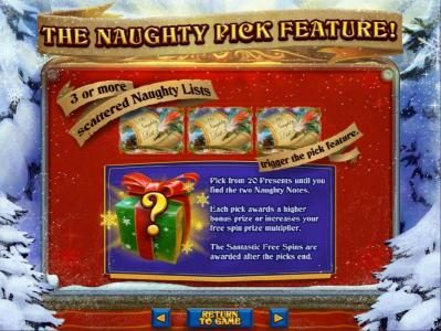 Vegas Casino Online featuring the Video Slots The Naughty List with a maximum payout of $250,000