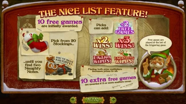 Club Player featuring the Video Slots The Nice List with a maximum payout of $25,000