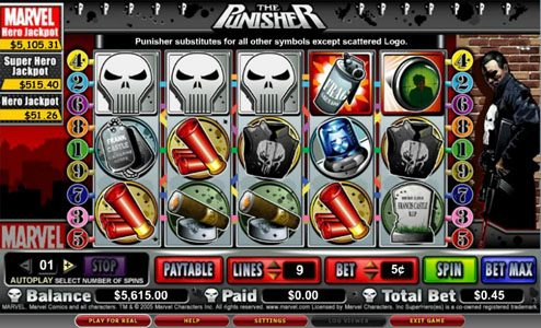 Play slots at Wild Slots: Wild Slots featuring the video-Slots The Punisher with a maximum payout of 5,000x